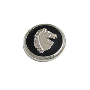 Black and Silver Toned Horse Head Magnet